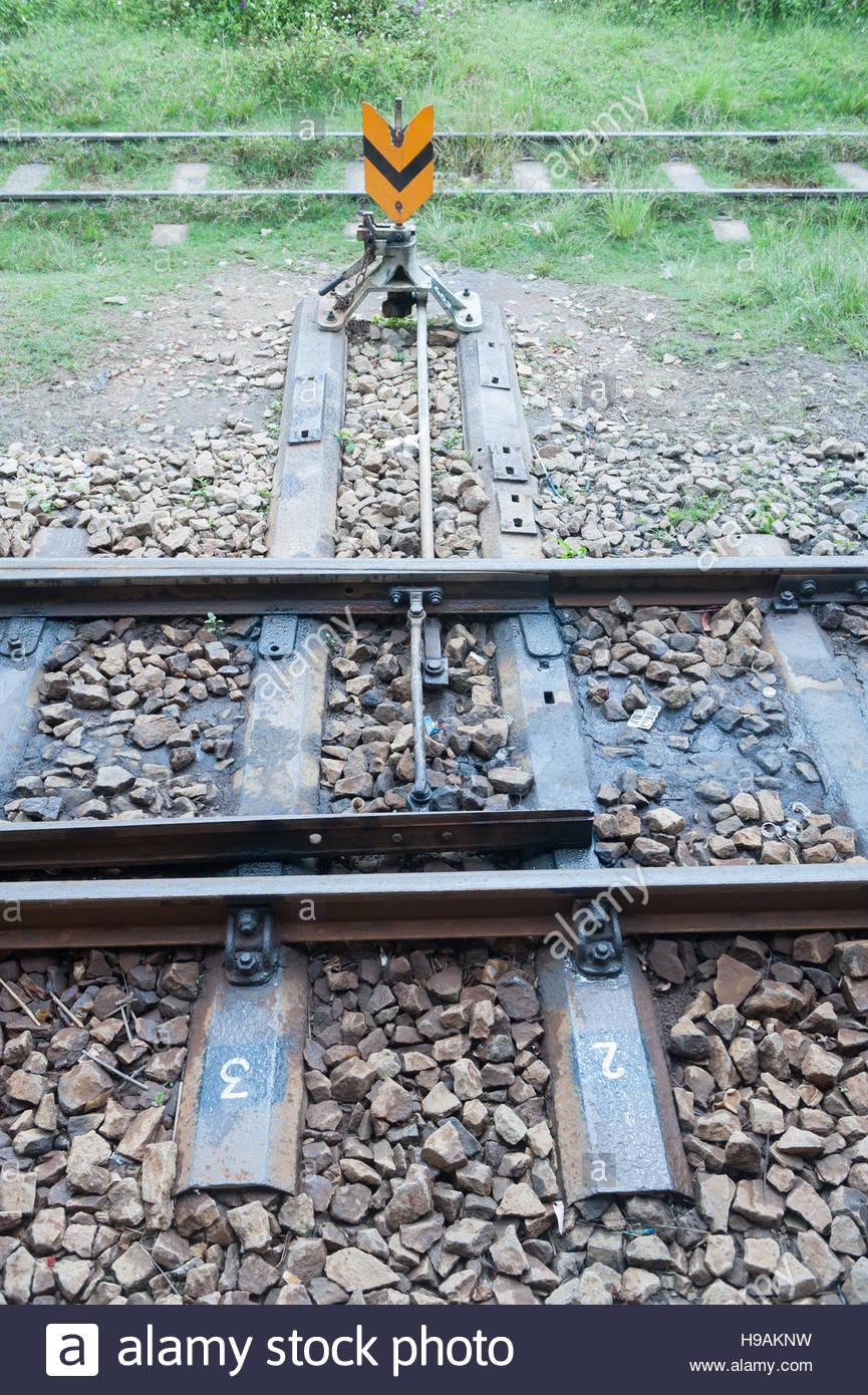 Dalat Vietnam Dalat Railways station. Rail track points. - Stock Image