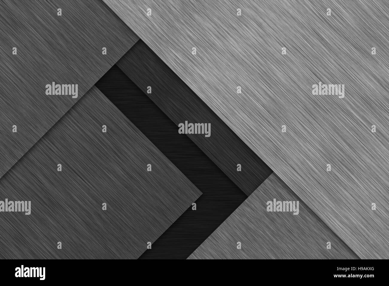 Linear brushed metal texture layered plates. Aluminum background wallpaper - Stock Image