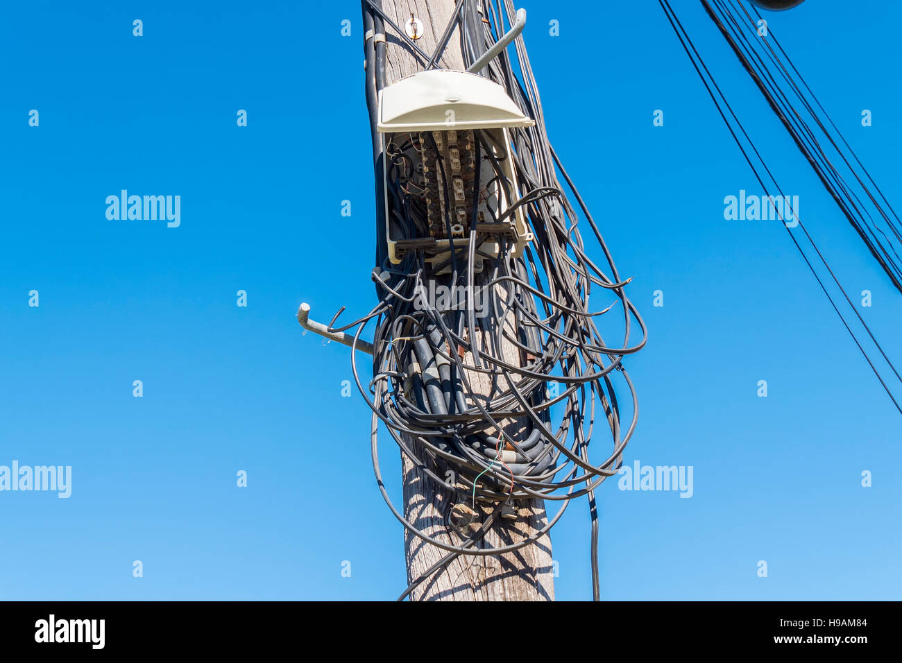 Telecommunications wiring in poor condition - Stock Image