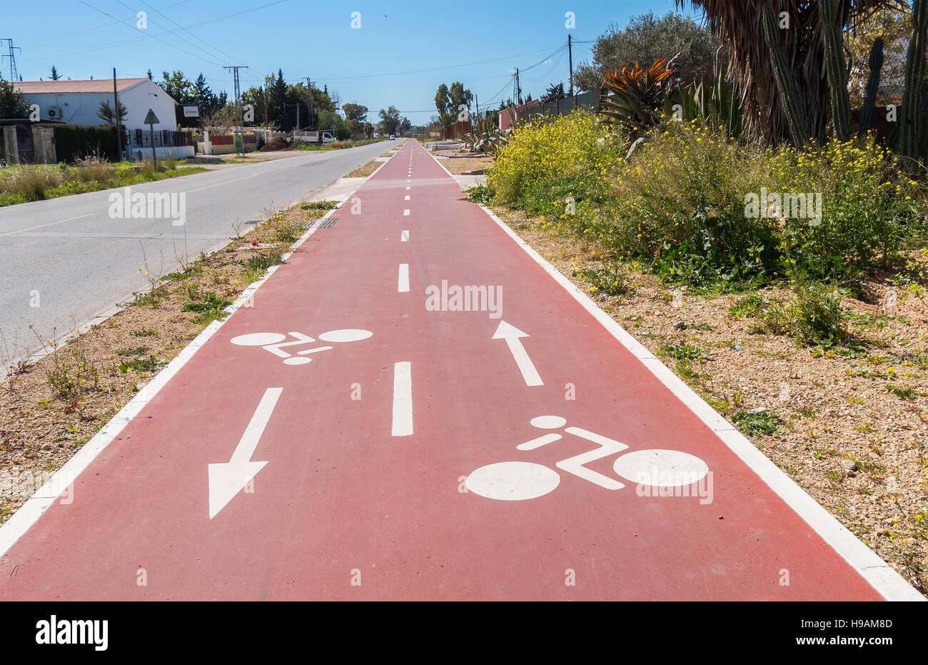 Traffic signs  drawn in the Cycleway - Stock Image