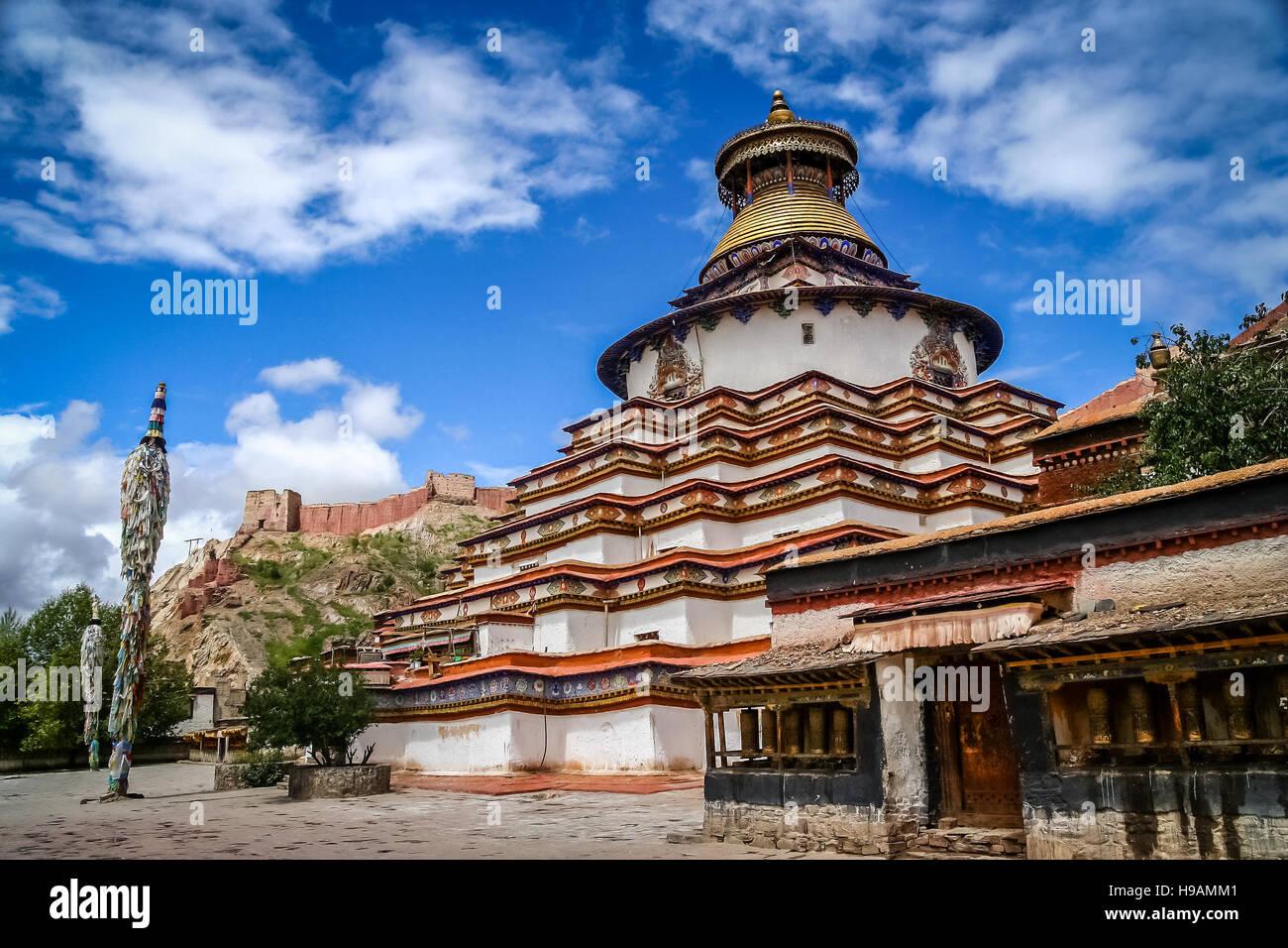 The Buddhist Kumbum chorten in Gyantse in the Tibet Autonomous Region of China - Stock Image