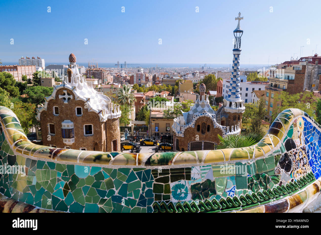 The Park Güell is a public park system composed of gardens and architectonic elements located on Carmel Hill, - Stock Image