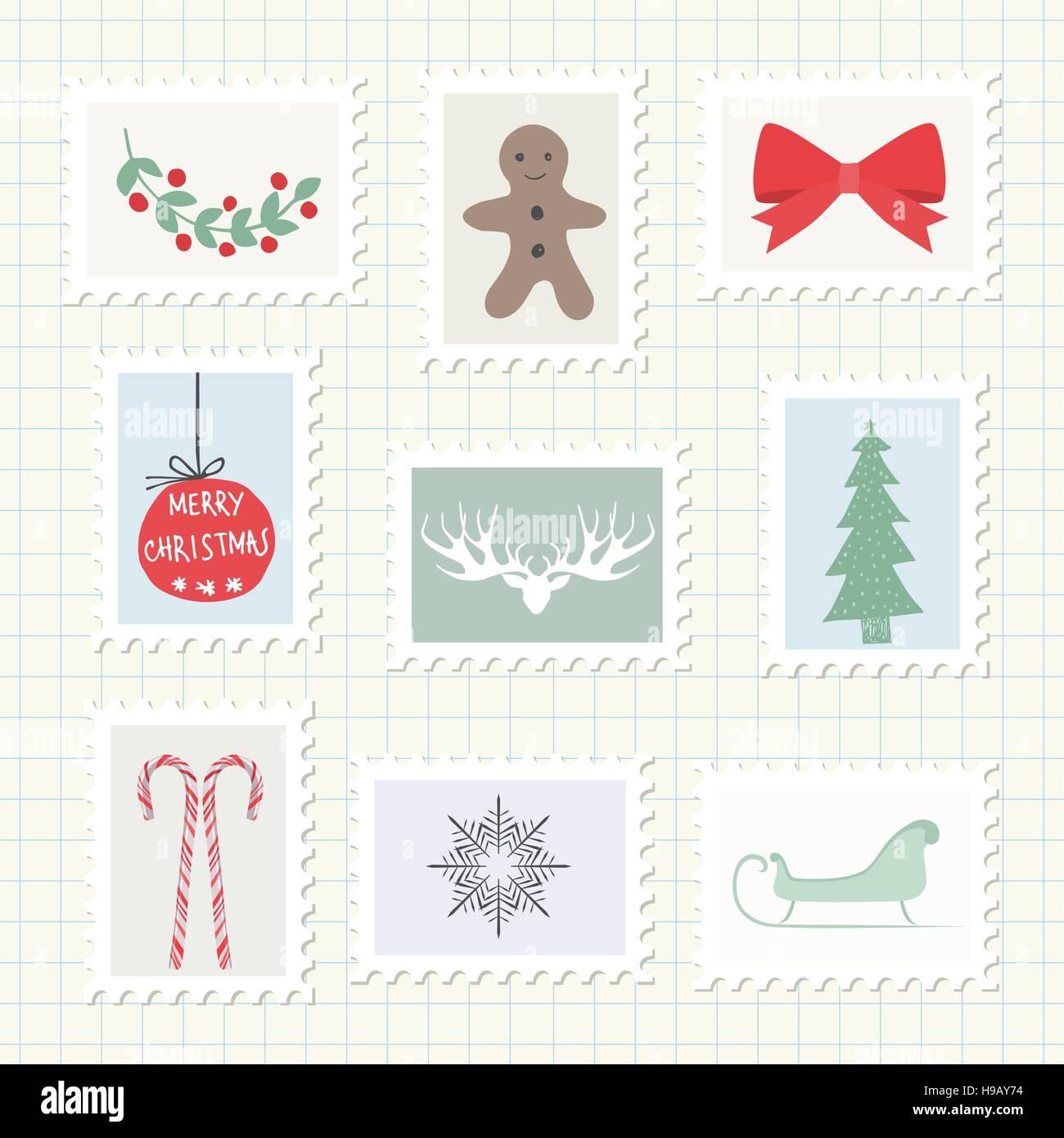 Christmas Postmark Collection. Vector Illustration - Stock Image