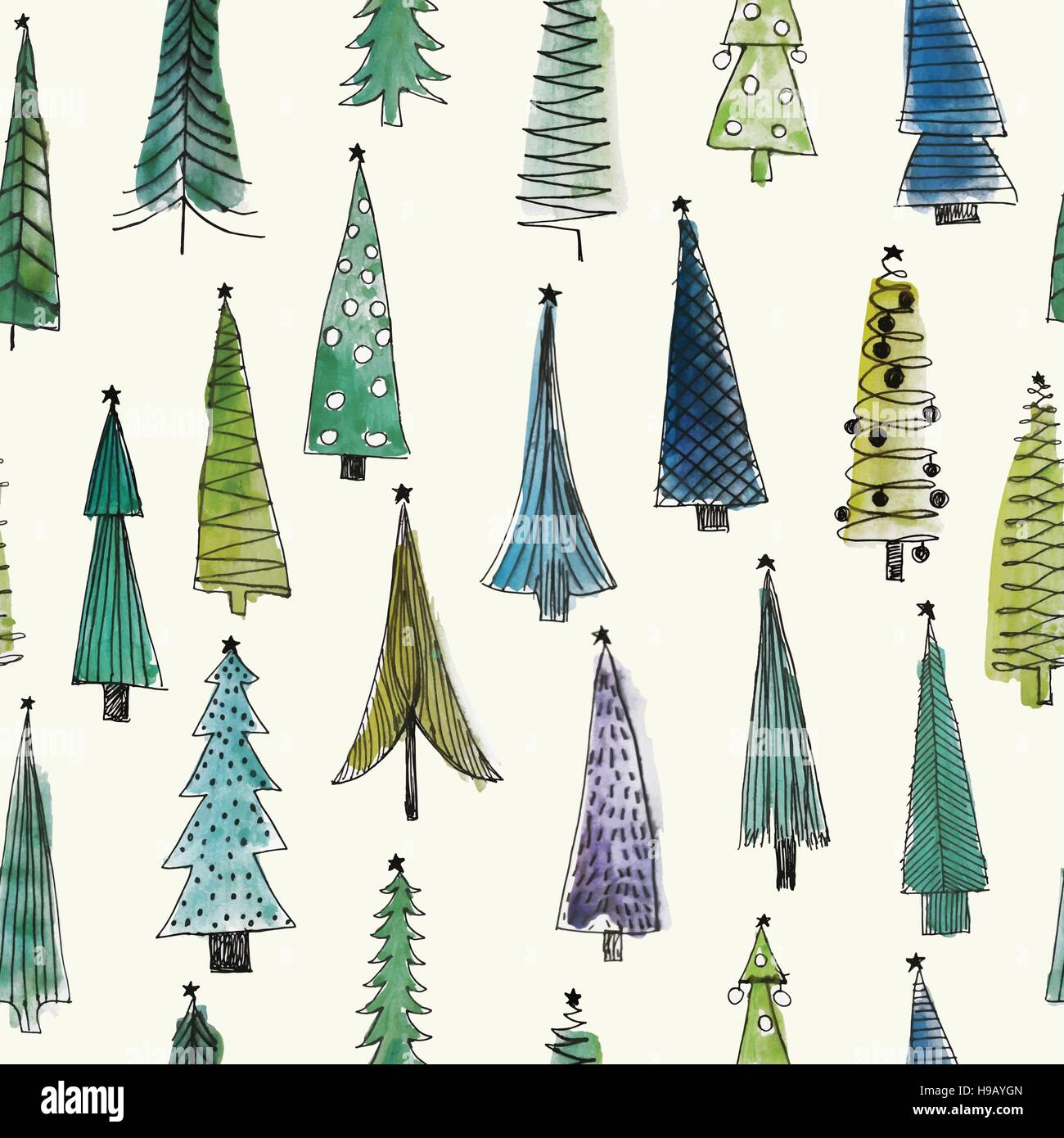 Watercolour Christmas Tree: Watercolor Christmas Trees/ Seamless Vector Pattern Stock