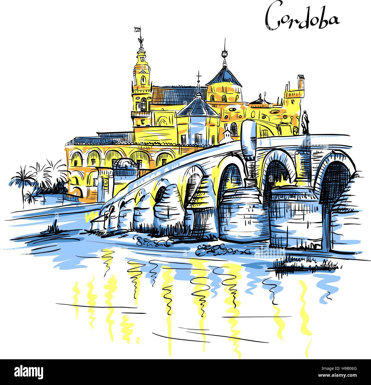 Vector Mezquita and Roman bridge in Cordoba, Spain - Stock Vector