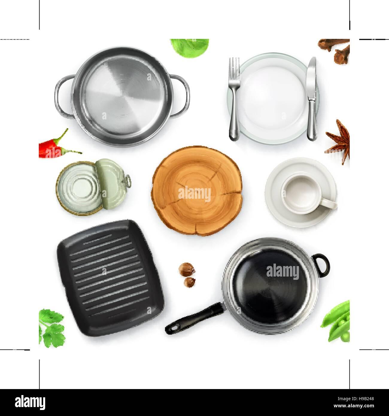 Kitchen Utensils, Top View Vector Object Stock Vector Art