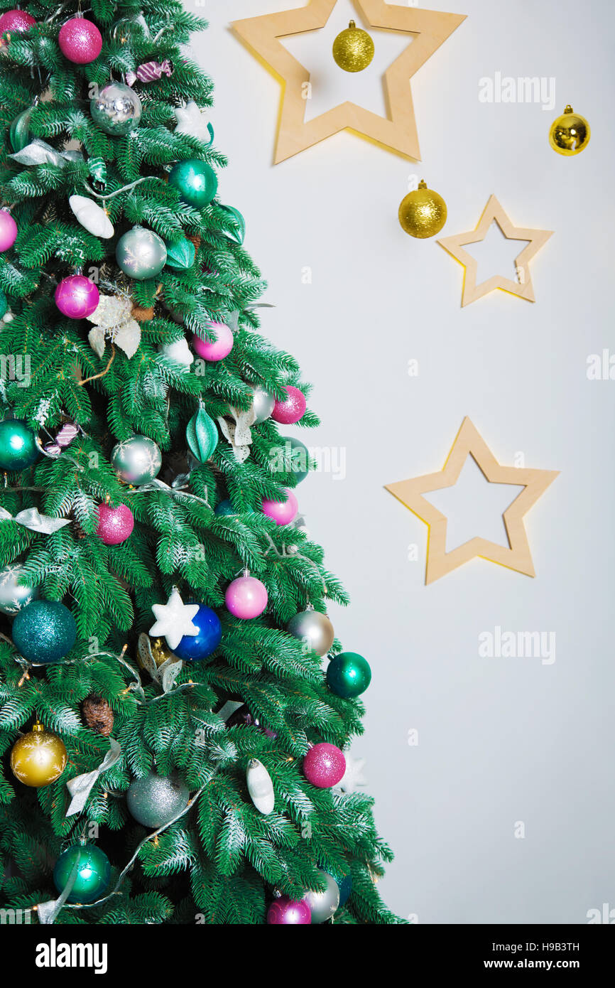 Closeup Of Christmas Tree Background In The Living Room Of