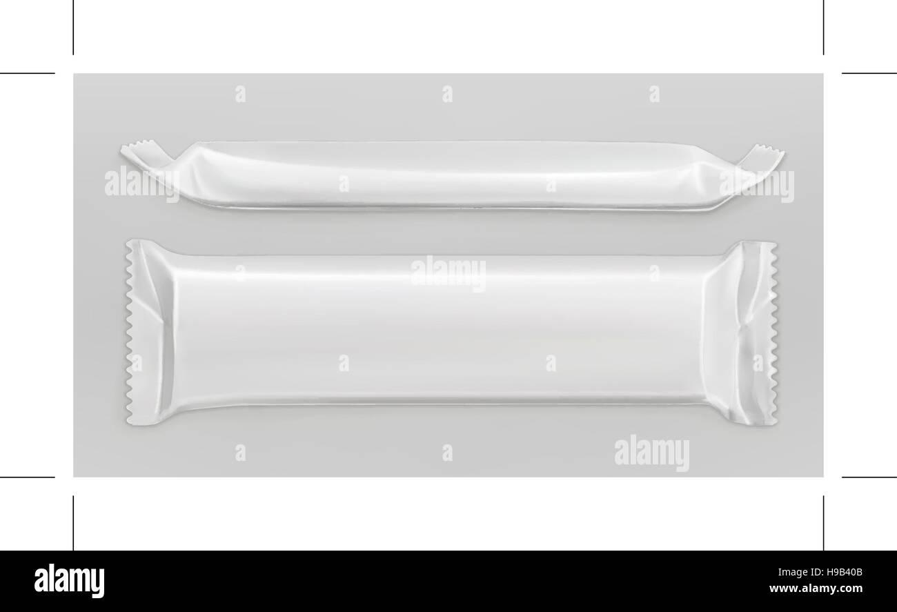 White polyethylene package, chocolate bar, vector mockup - Stock Vector