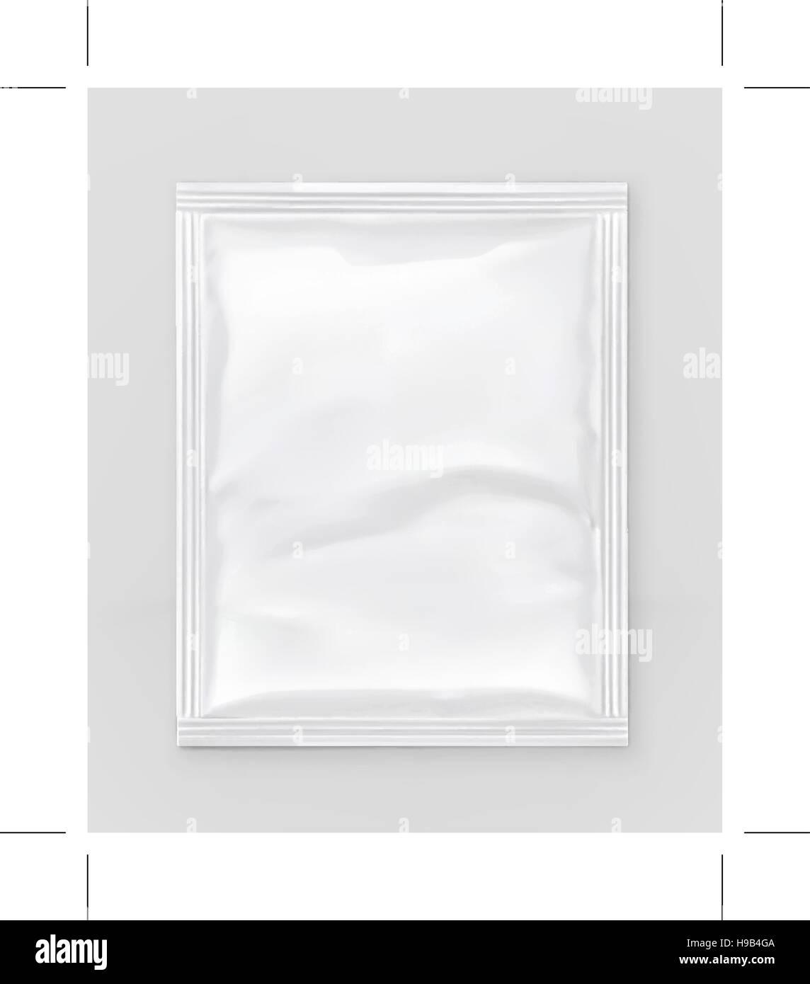 White polyethylene packaging, vector mockup - Stock Vector