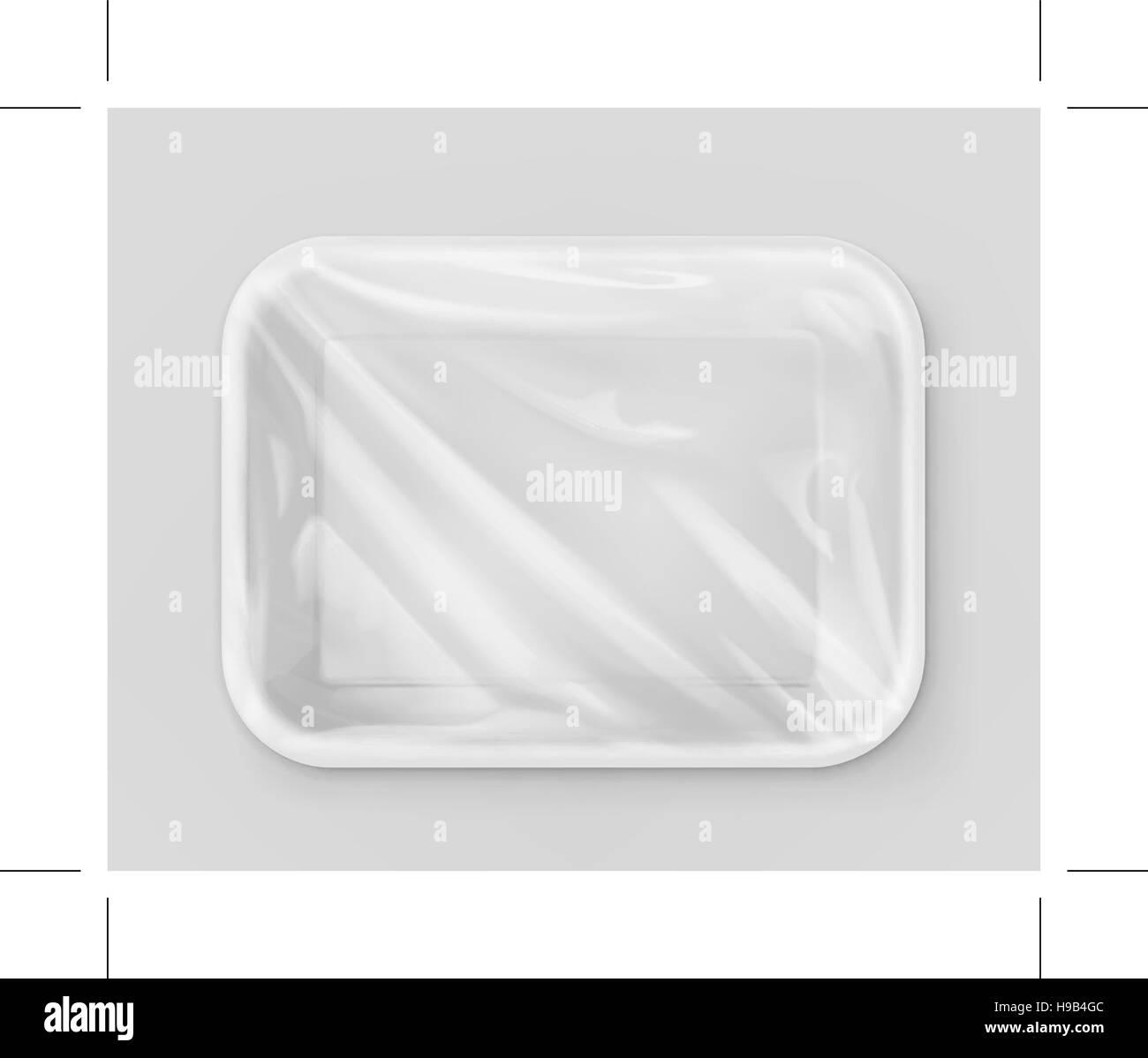White polystyrene packaging, vector mockup - Stock Vector