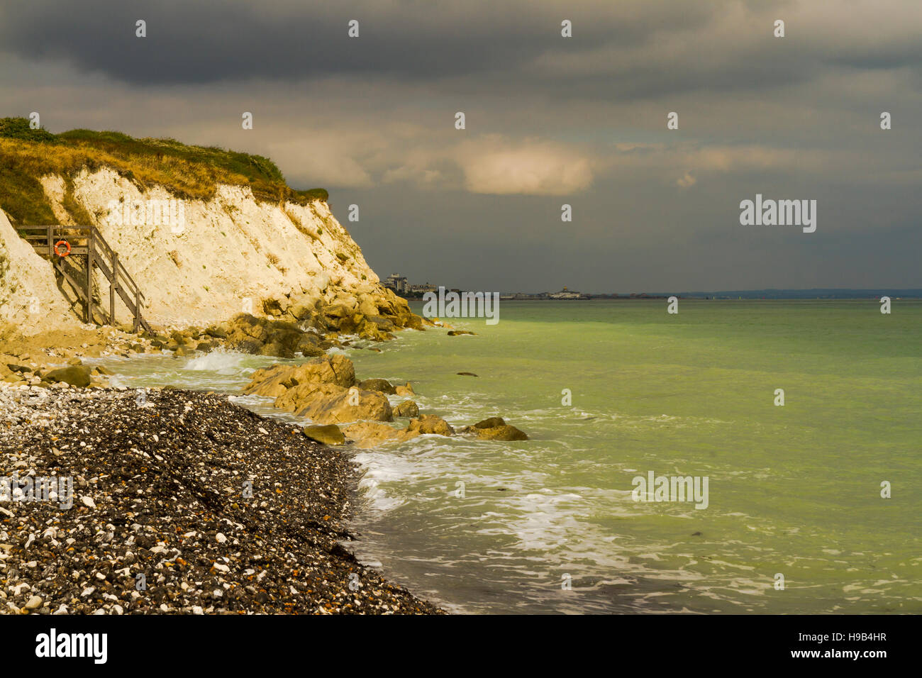 stormy weather coming over  seven sister cliffs Stock Photo