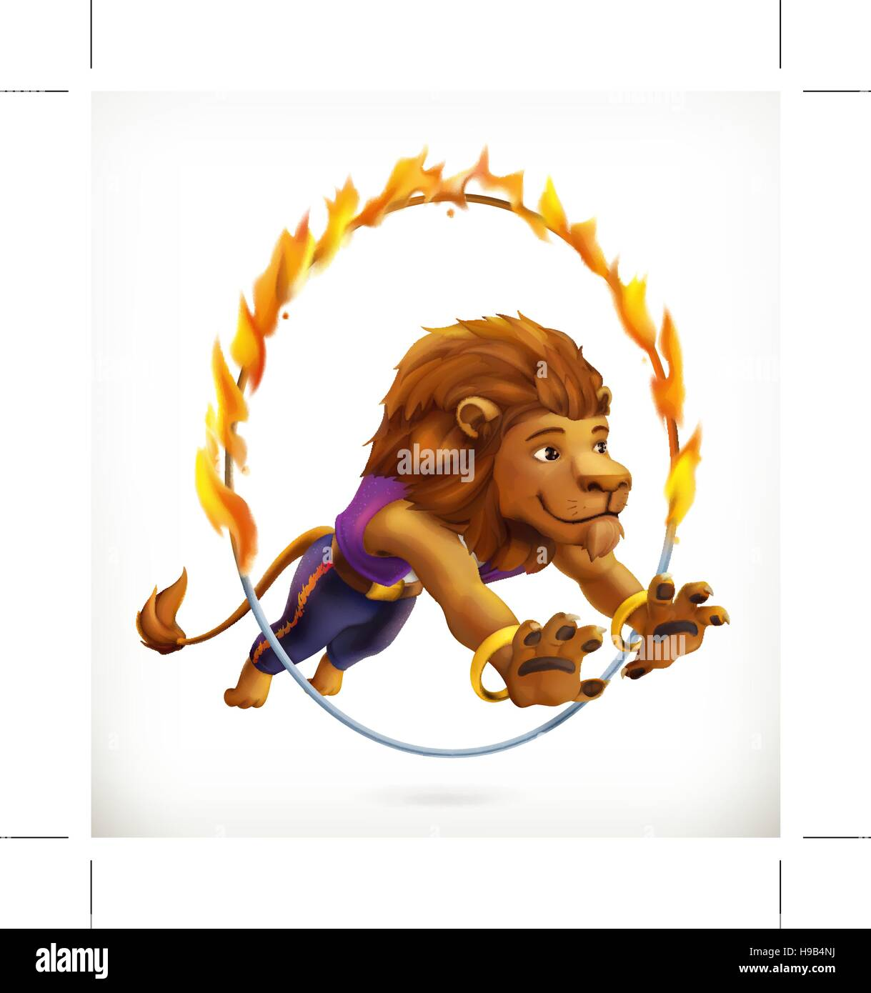 Circus lion jumping through a flaming hoop, fire show, vector icon mesh - Stock Image