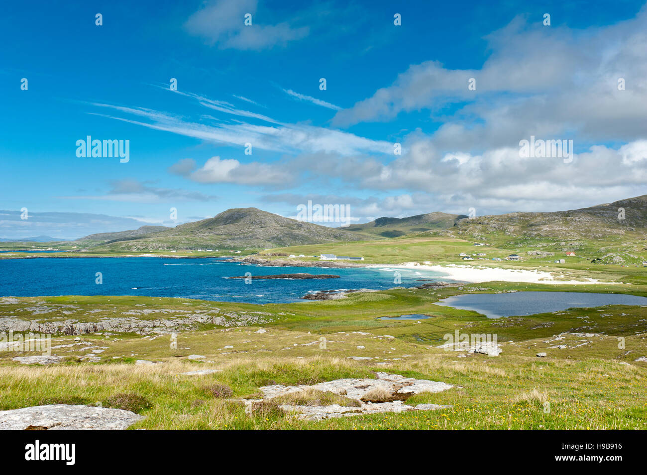 Coast at Tangasdal Beach, Atlantic Ocean, Isle of Barra, Outer Hebrides, Scotland, United Kingdom - Stock Image