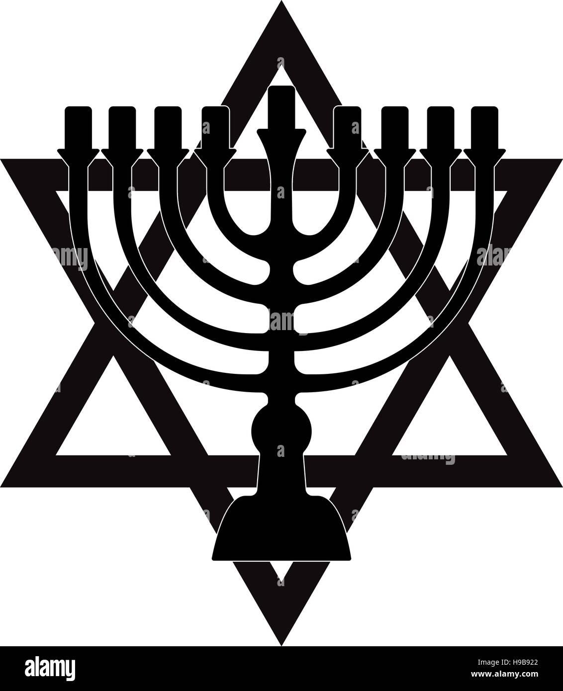 Menorah for Hanukkah, Vector illustration. Religion icon. Silhouette Flat style - Stock Vector