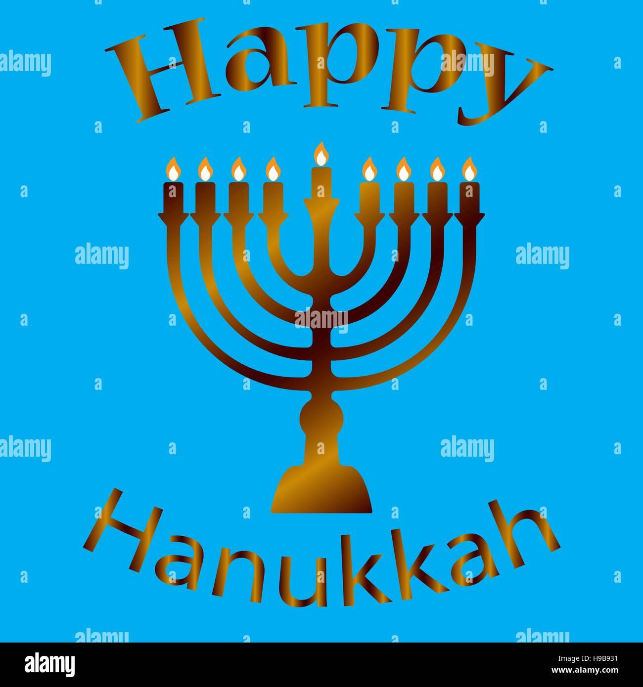 Hanukkah Typographic Vector Design - Happy Hanukkah. Jewish holiday. Hanukkah Menorah on Light Blue Background - Stock Vector