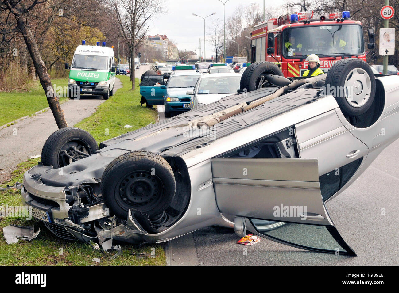 Traffic accident, car rollover, Munich, Upper Bavaria, Bavaria Stock ...