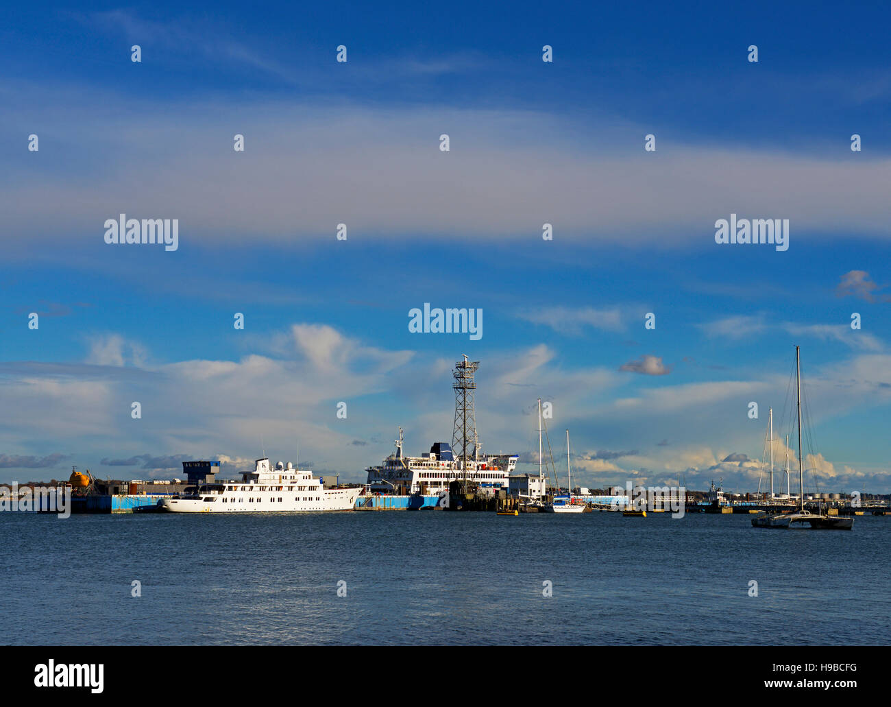 View over Southampton Water from Hythe, Hampshire, England UK - Stock Image