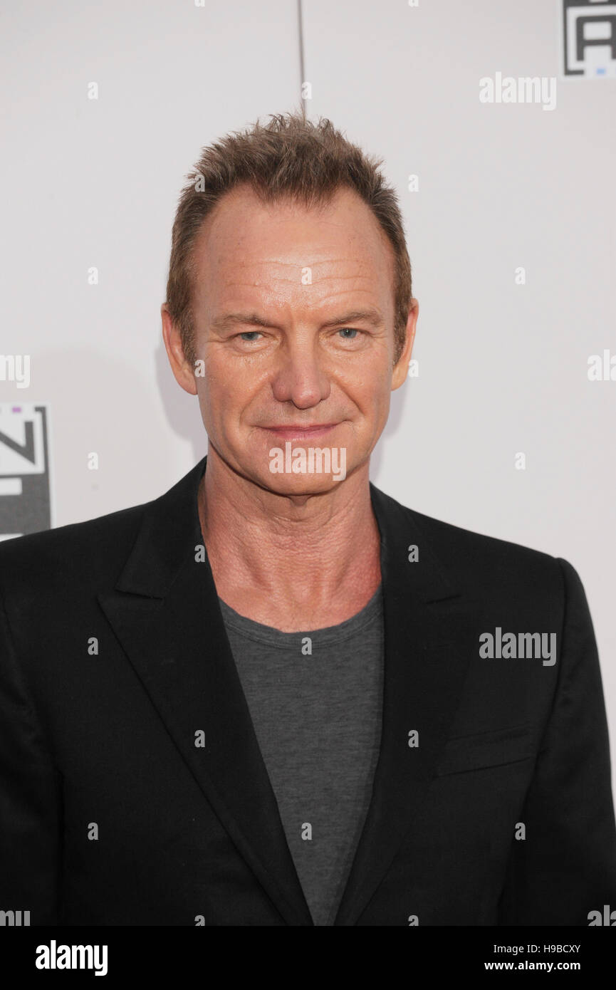 Singer Sting arrives at the 2016 American Music Awards at Microsoft Theater on November 20, 2016 in Los Angeles, - Stock Image