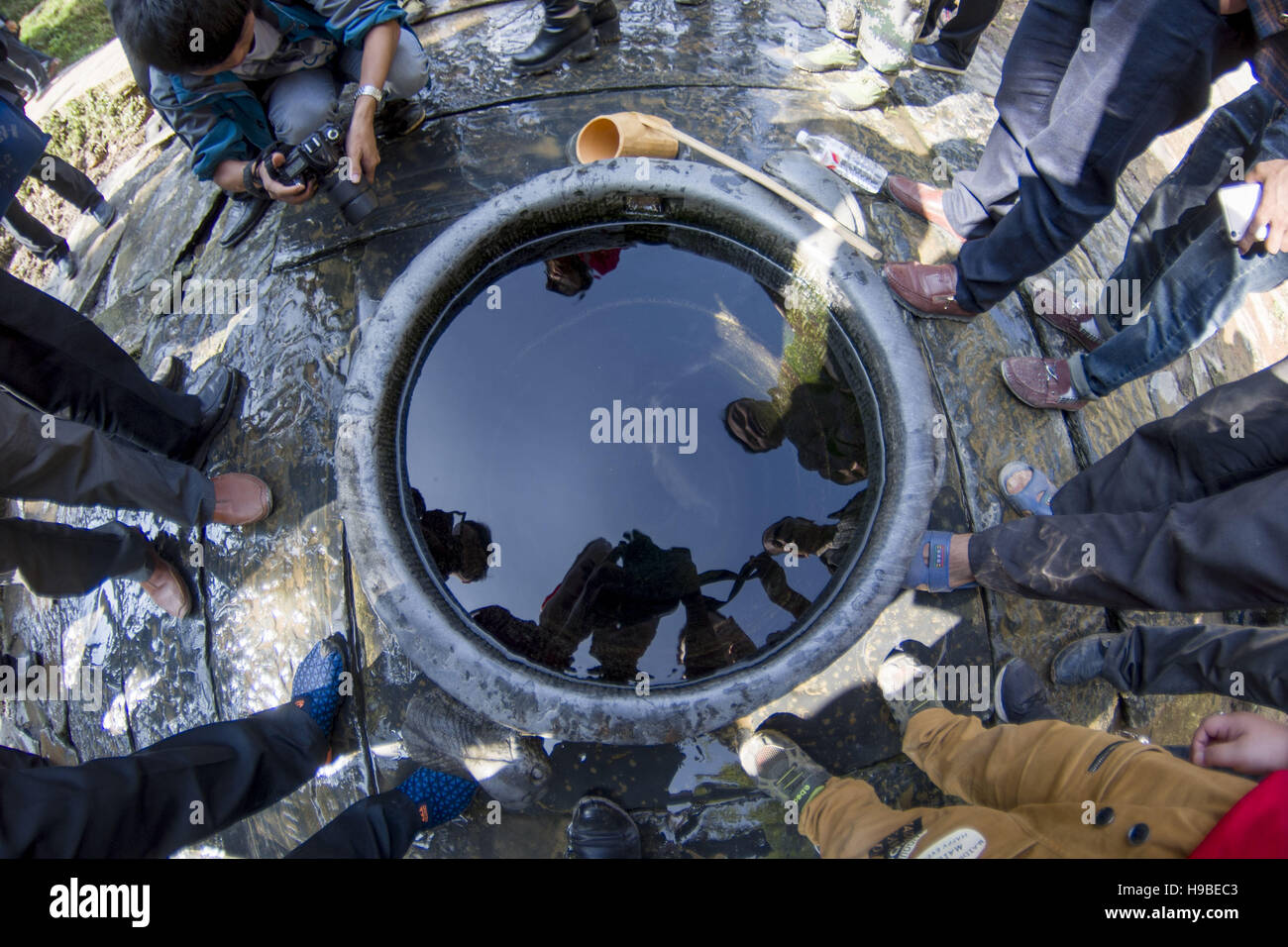 China. 19th Nov, 2016. Guizhou, CHINA-November 19 2016: (EDITORIAL USE ONLY. CHINA OUT) .The ancient well with exquisite - Stock Image