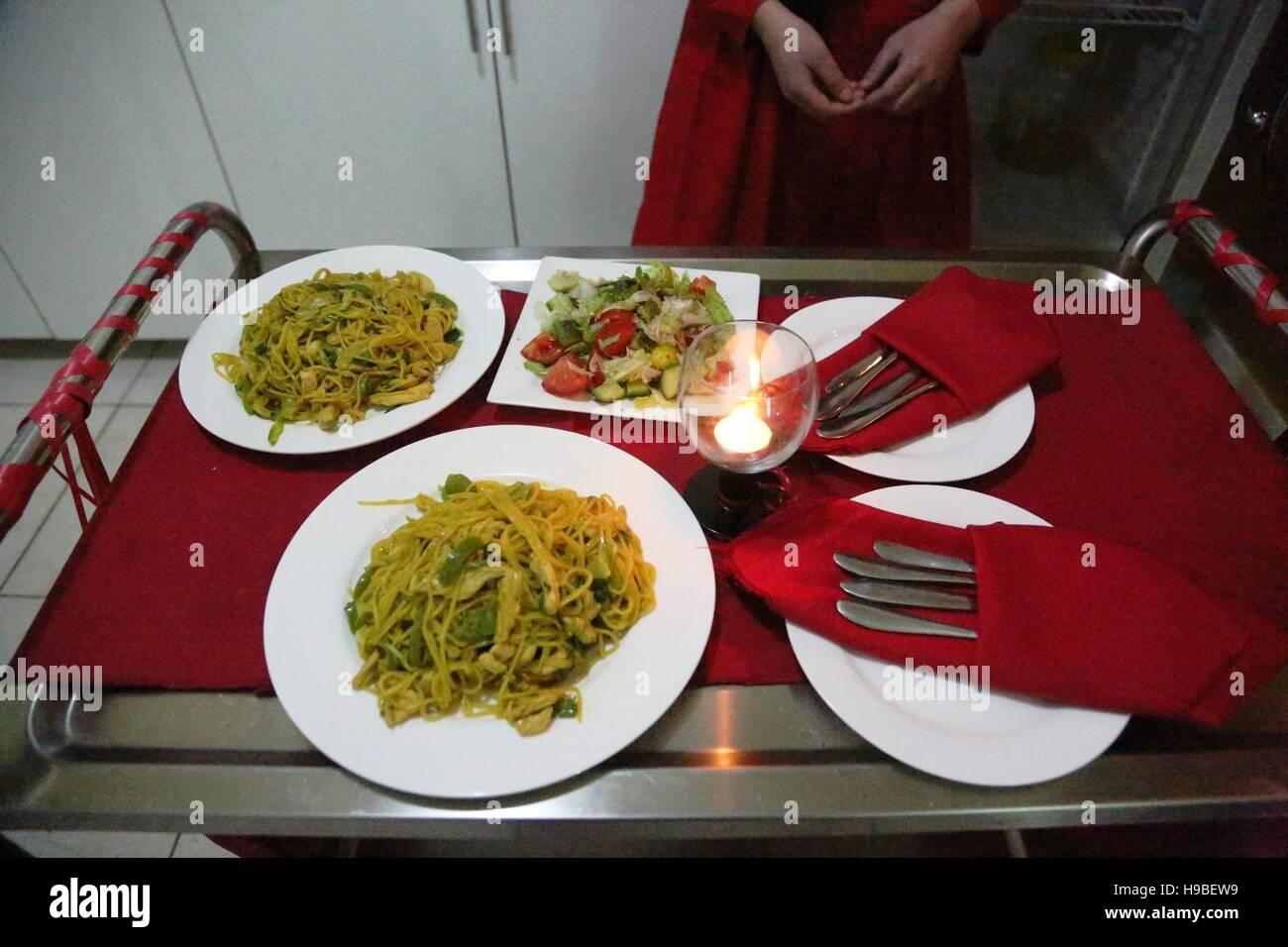 Kabul, Afghanistan. 16th Nov, 2016. Photo taken on Nov. 16, 2016 shows food prepared by Bost Family Restaurant in - Stock Image