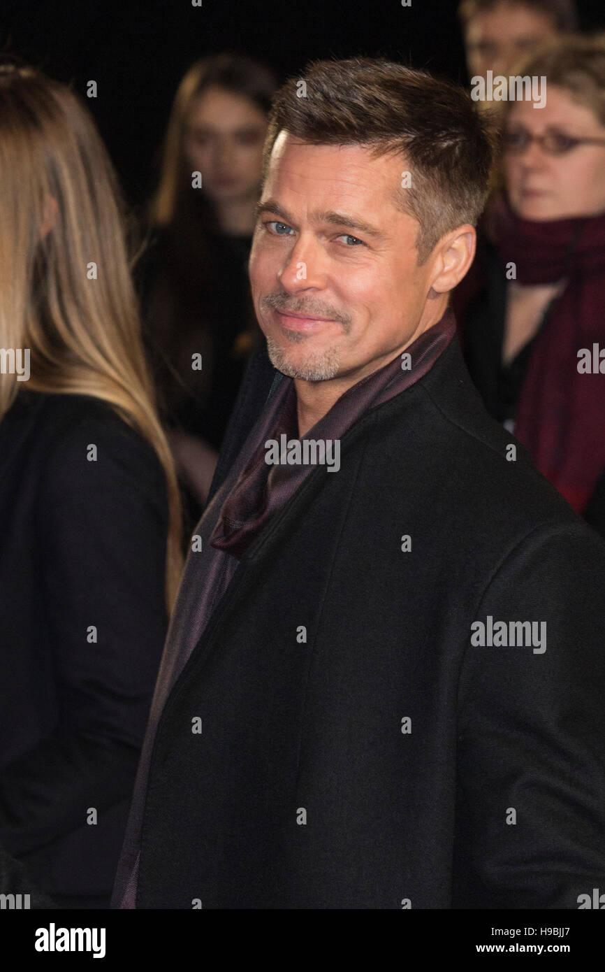 London, UK. 21 November 2016. American actor Brad Pitt attends the UK premiere of Allied, the World War II romantic Stock Photo