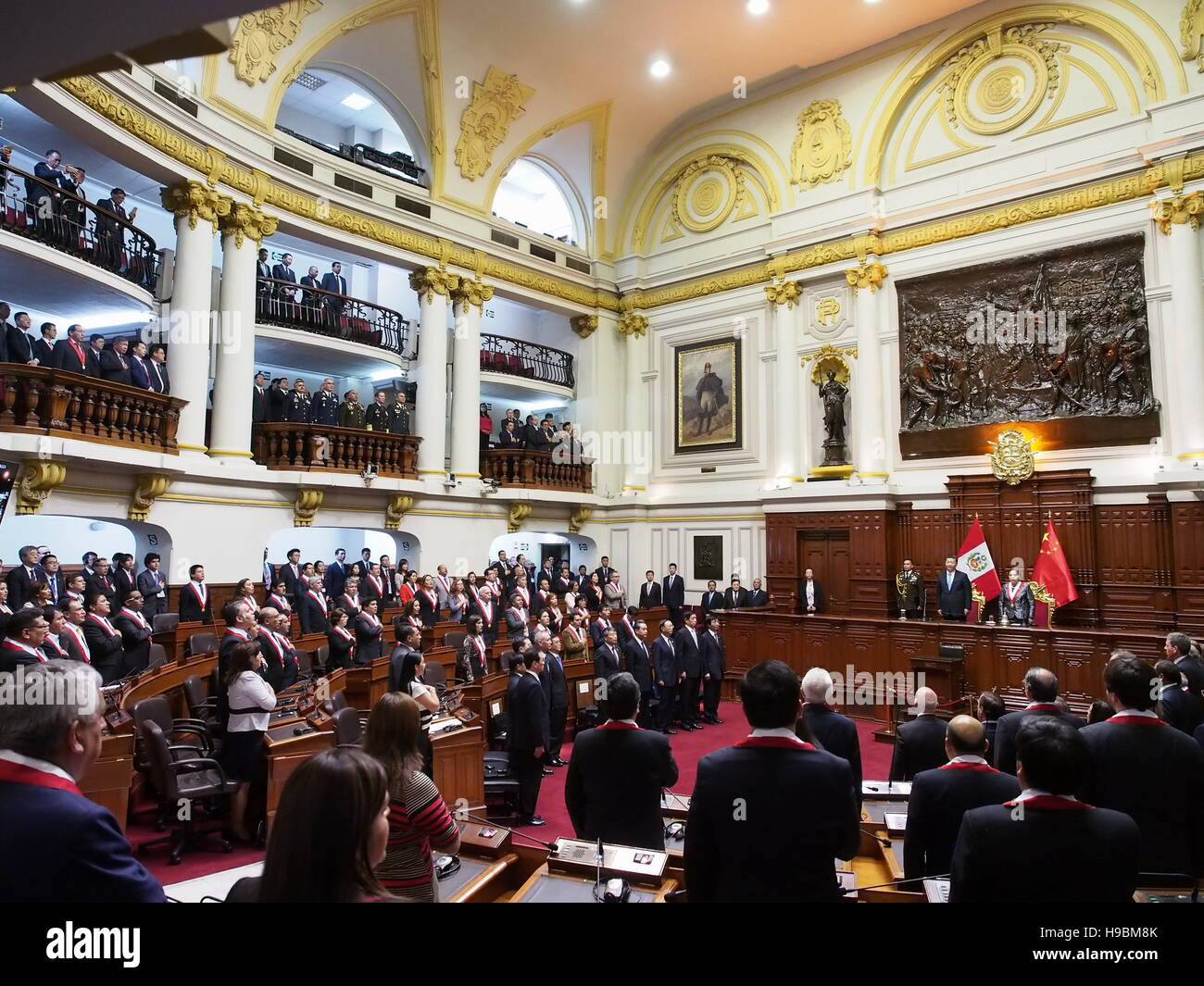 The President of the People's Republic of China, Xi Jinping, and Luz Salgado, president of the Peruvian Congress, - Stock Image