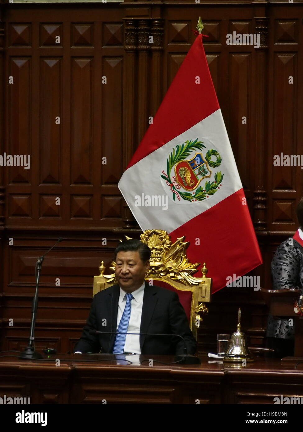 The President of the People's Republic of China, Xi Jinping, in a solemn session in the Peruvian hemicycle. - Stock Image