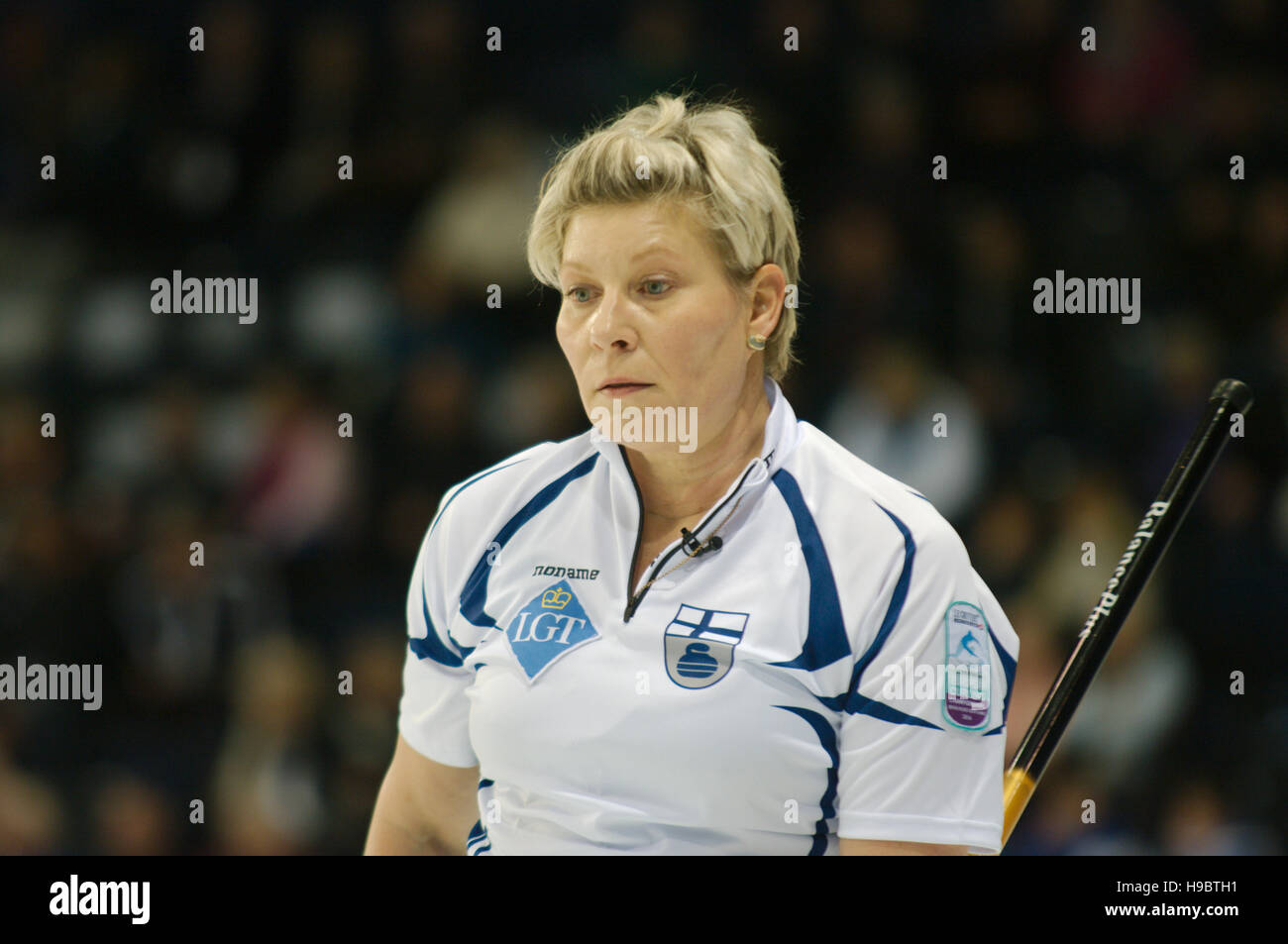 Braehead Arena, Renfrewshire, Scotland, 22 November 2016. Anne Malmi, skip of Finland, playing in the  Le Gruyère - Stock Image