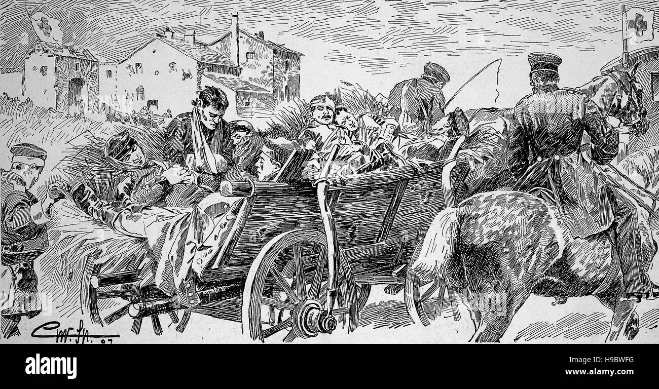 Franco-Prussian War, 1870, Transport of wounded soldiers, historical illustration - Stock Image