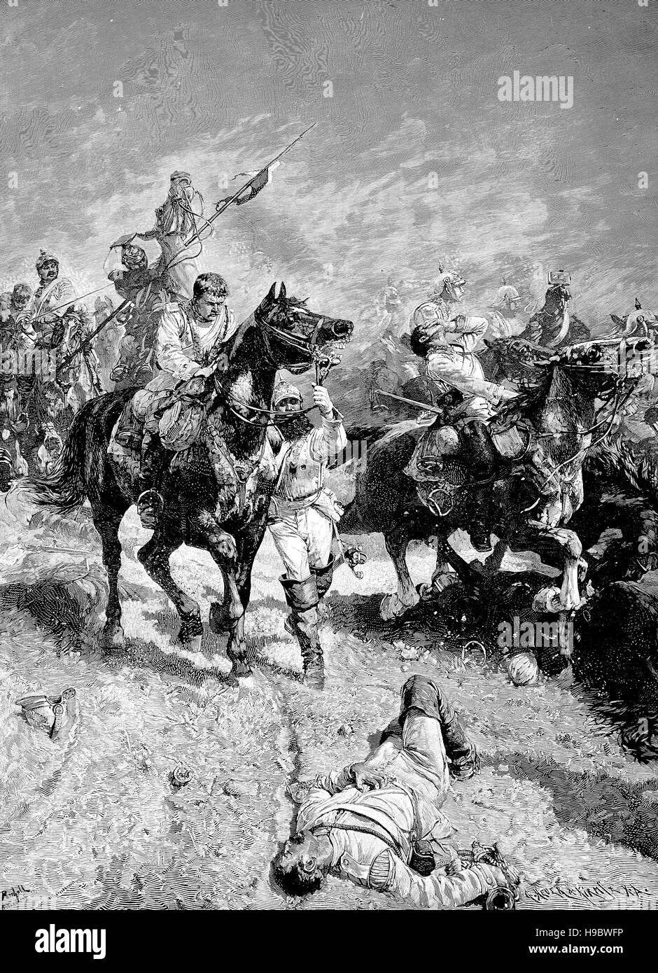 Franco-Prussian War, 1870, the Charge of the Light Brigade at Bionville, France, historical illustration - Stock Image