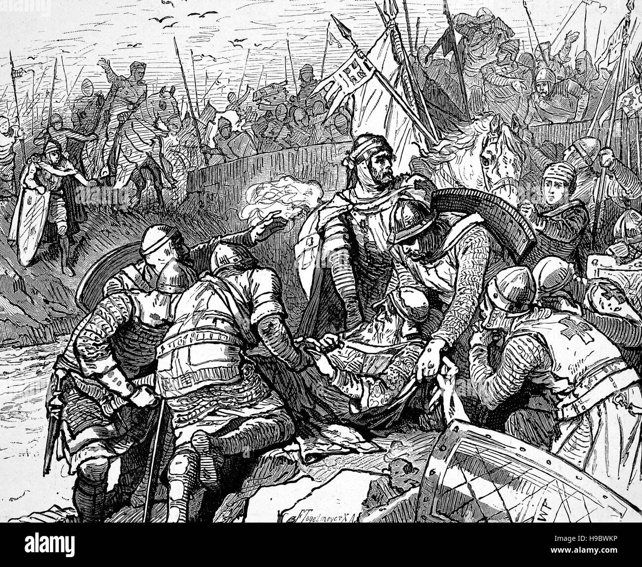 the dead of Frederick I, Friedrich, 1122 - 10 June 1190, also known as Frederick Barbarossa, he was the Holy Roman - Stock Image
