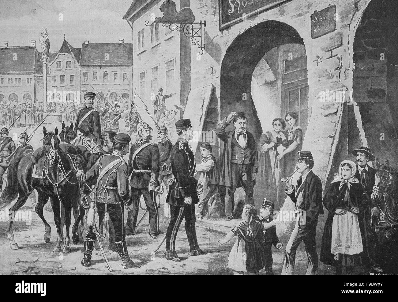billeting of soldiers in Bohemia 1861, Napoleonic Wars, historical illustration - Stock Image
