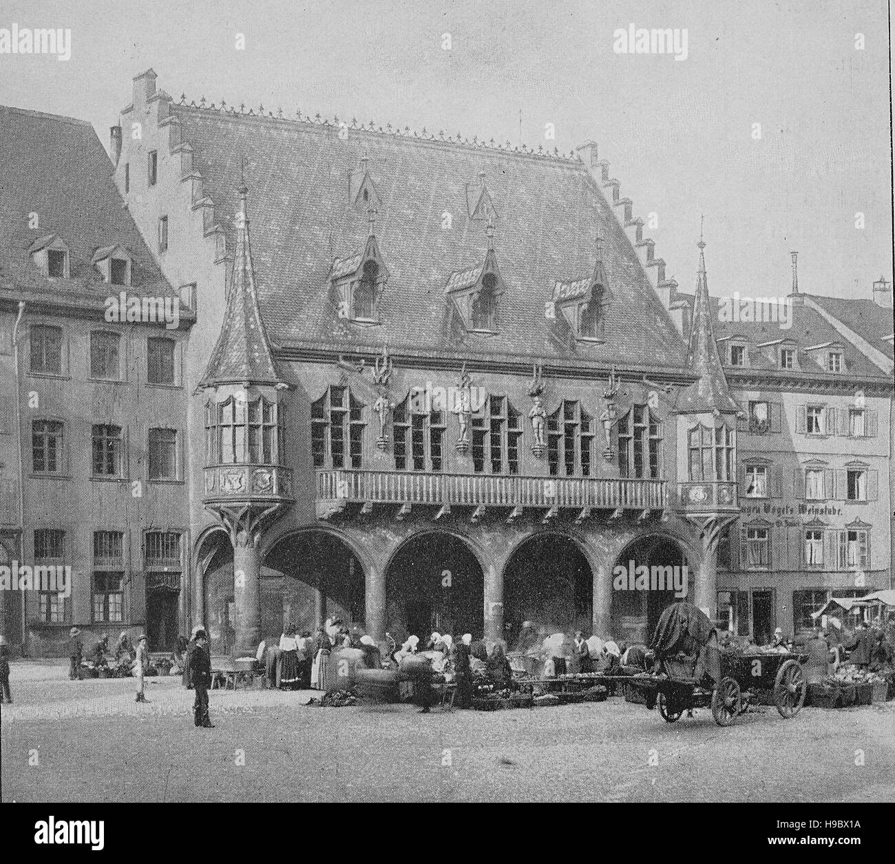 Department store in Freiburg, in the year 1500, Middle Ages, Germany, historical illustration - Stock Image