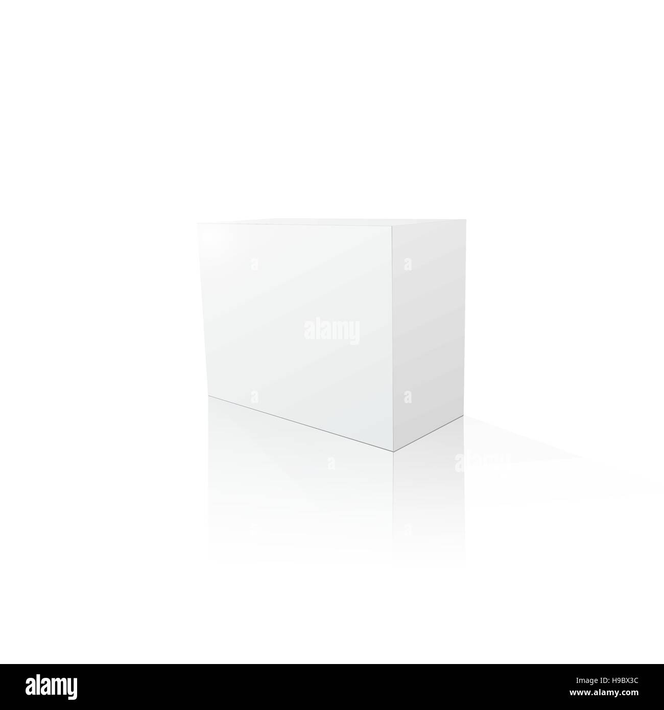 Blank 3d box stock vector images alamy template of blank white box for product rectangle box with shadows and reflection maxwellsz