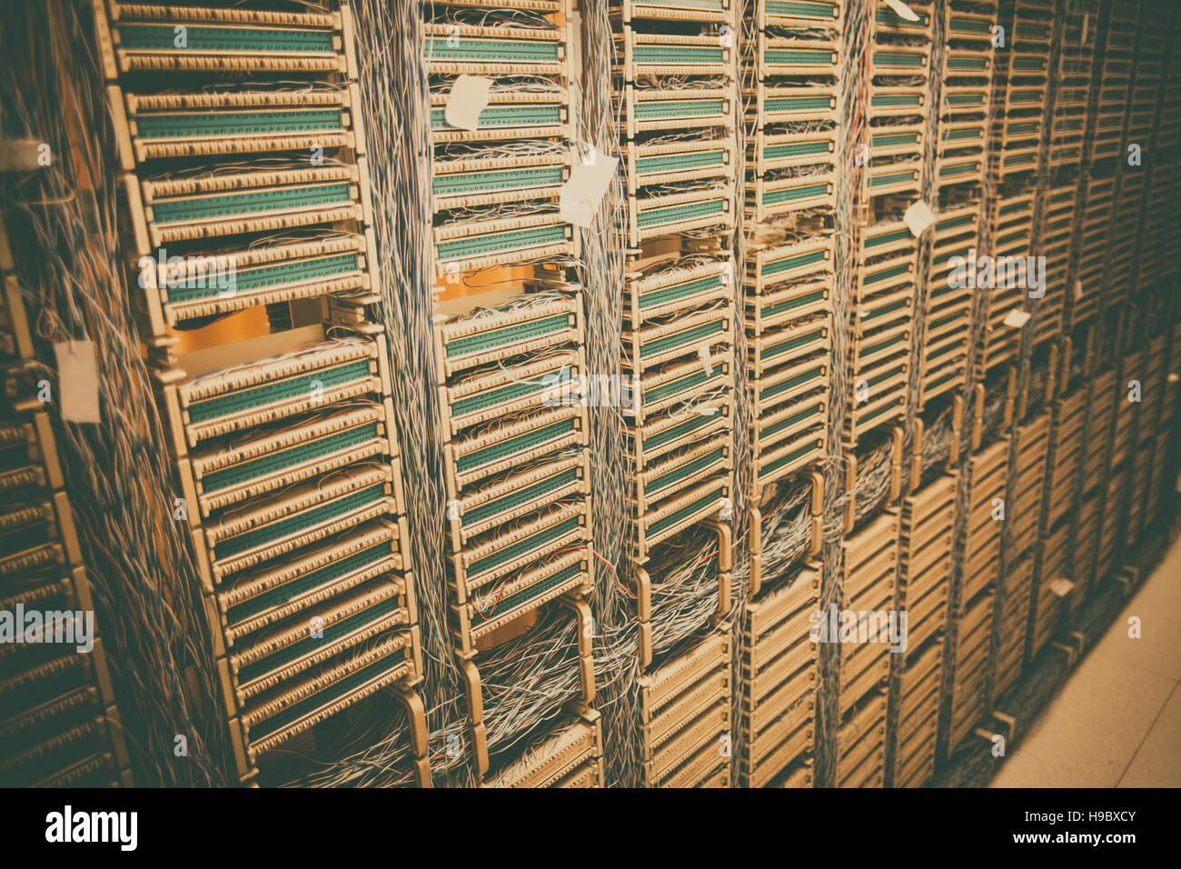 color image of an old telephone exchange wit many wires stock photo rh alamy com old telephone wiring to new old telephone wiring photos