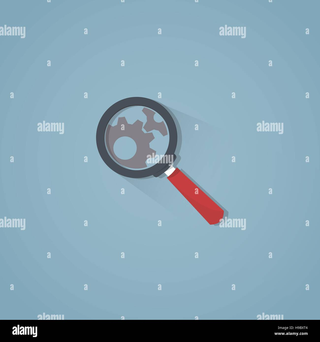 Flat illustration. Magnifying glass with hard flat shadows looking on working gears. - Stock Image