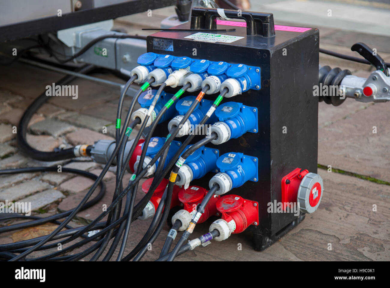 Electrical Distribution Board Stock Photos Home Wiring Box Kes Pd40 Temporary Installations With Range Of Industrial Plugs Sockets Exposed