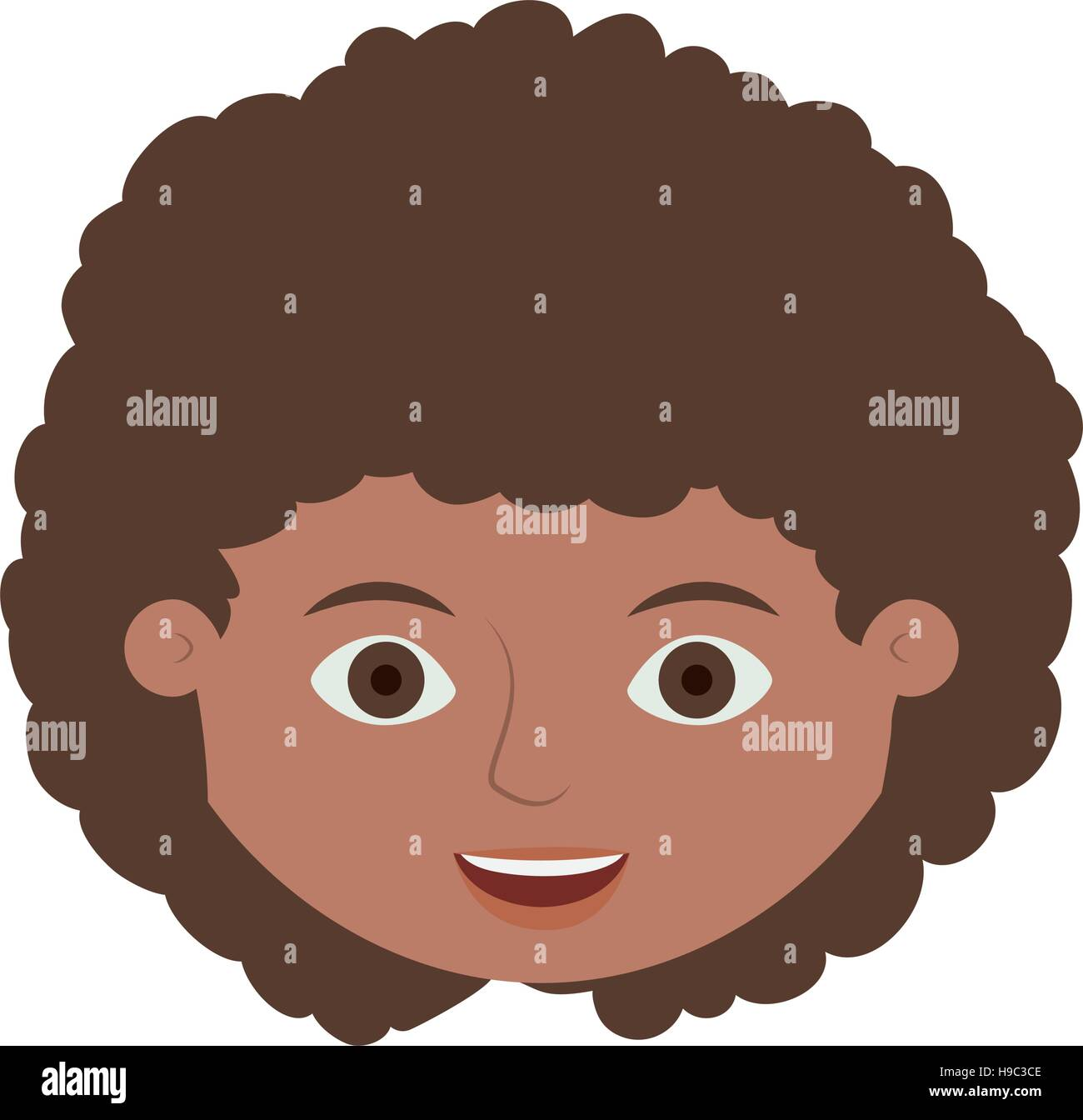 Front Face Child With Curly Hair Vector Illustration Stock Vector