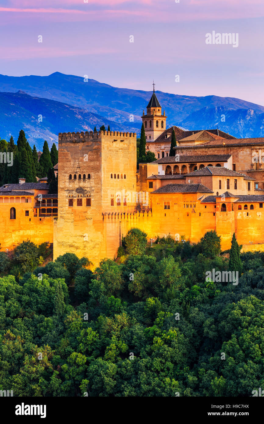 Alhambra of Granada, Spain. Alhambra fortress at twilight. - Stock Image