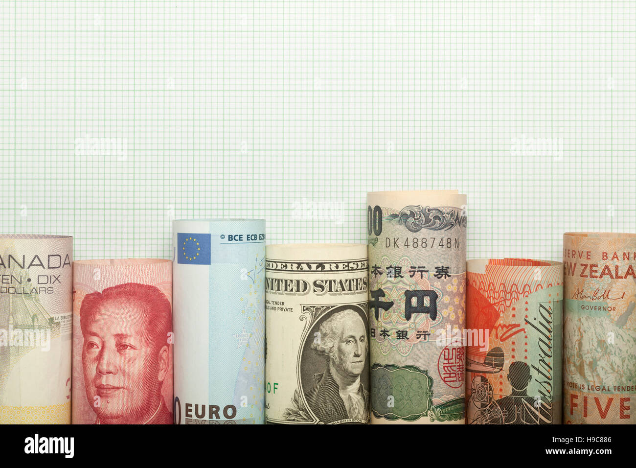 Different currencies forming a graph against grid background - Stock Image