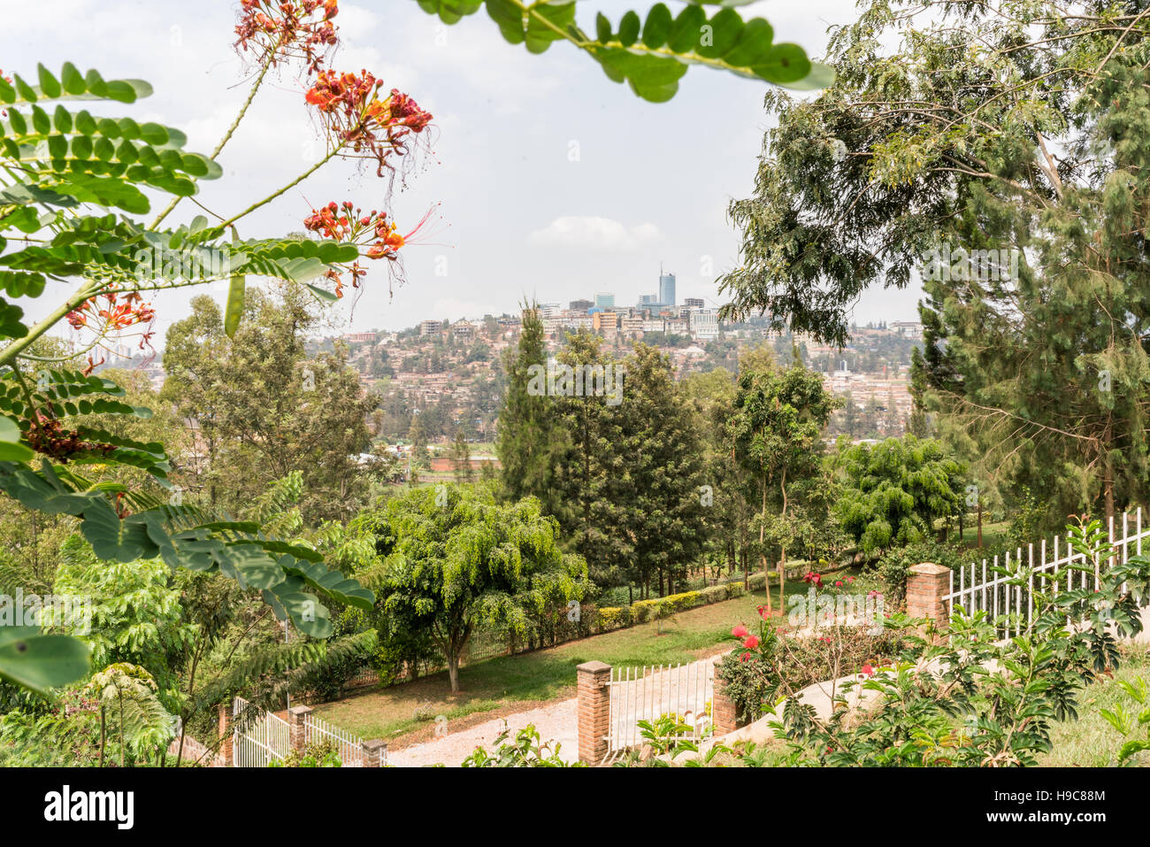 Aerial view of the Kigali, the capita city of Rwanda, from the hills on the outskirt of the city - Stock Image
