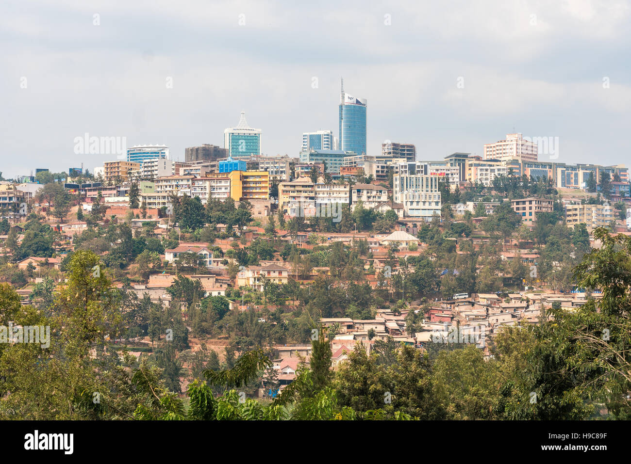 Bird's eye view of the buildings of downtown Kigali - Stock Image