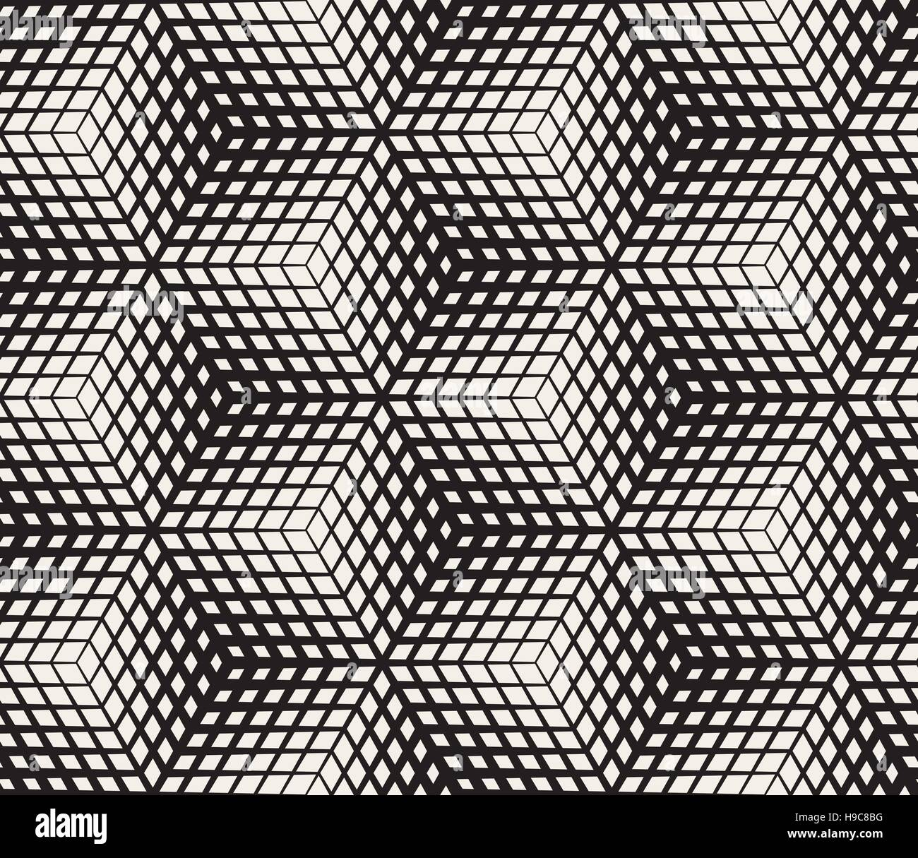 Vector Seamless Black And White Halftone Geometric Cubes Pattern - Stock Image