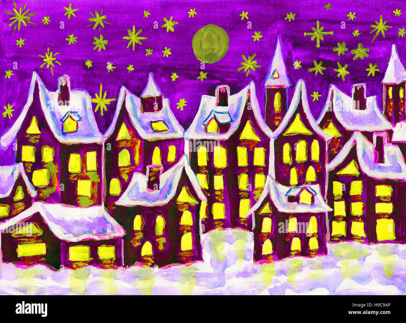 Weihnachtsmotive Kinder.Painting Watercolours Fairy Dreams Town In Winter Can Be Used As