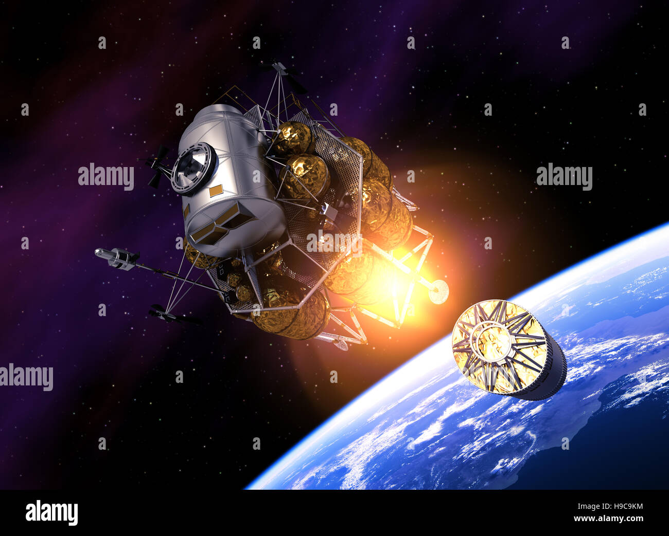 Interplanetary Space Station Launch Into Space. 3D Illustration. - Stock Image