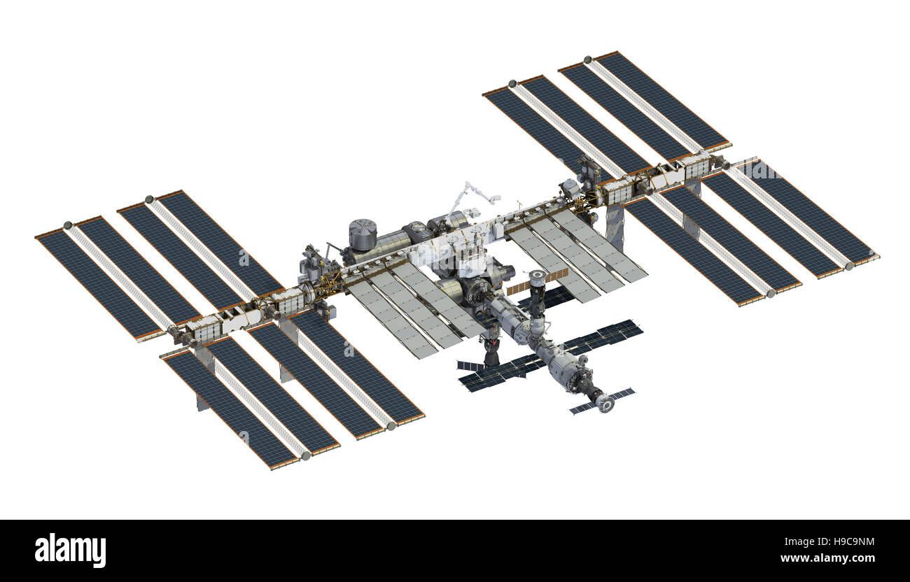 International Space Station Over White Background. 3D Illustration. - Stock Image