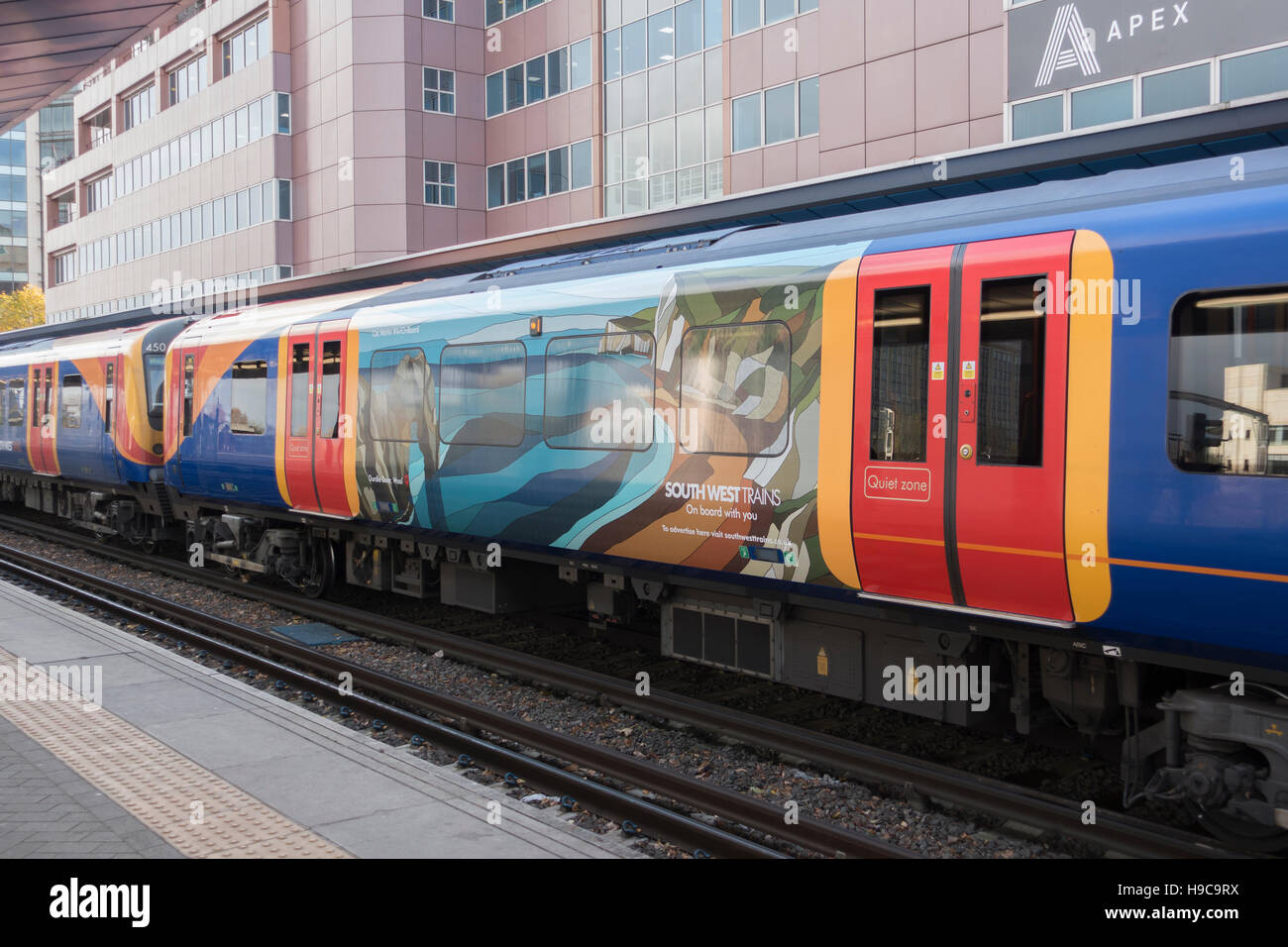 South West Trains EMU with Caz Martin Art -1 - Stock Image