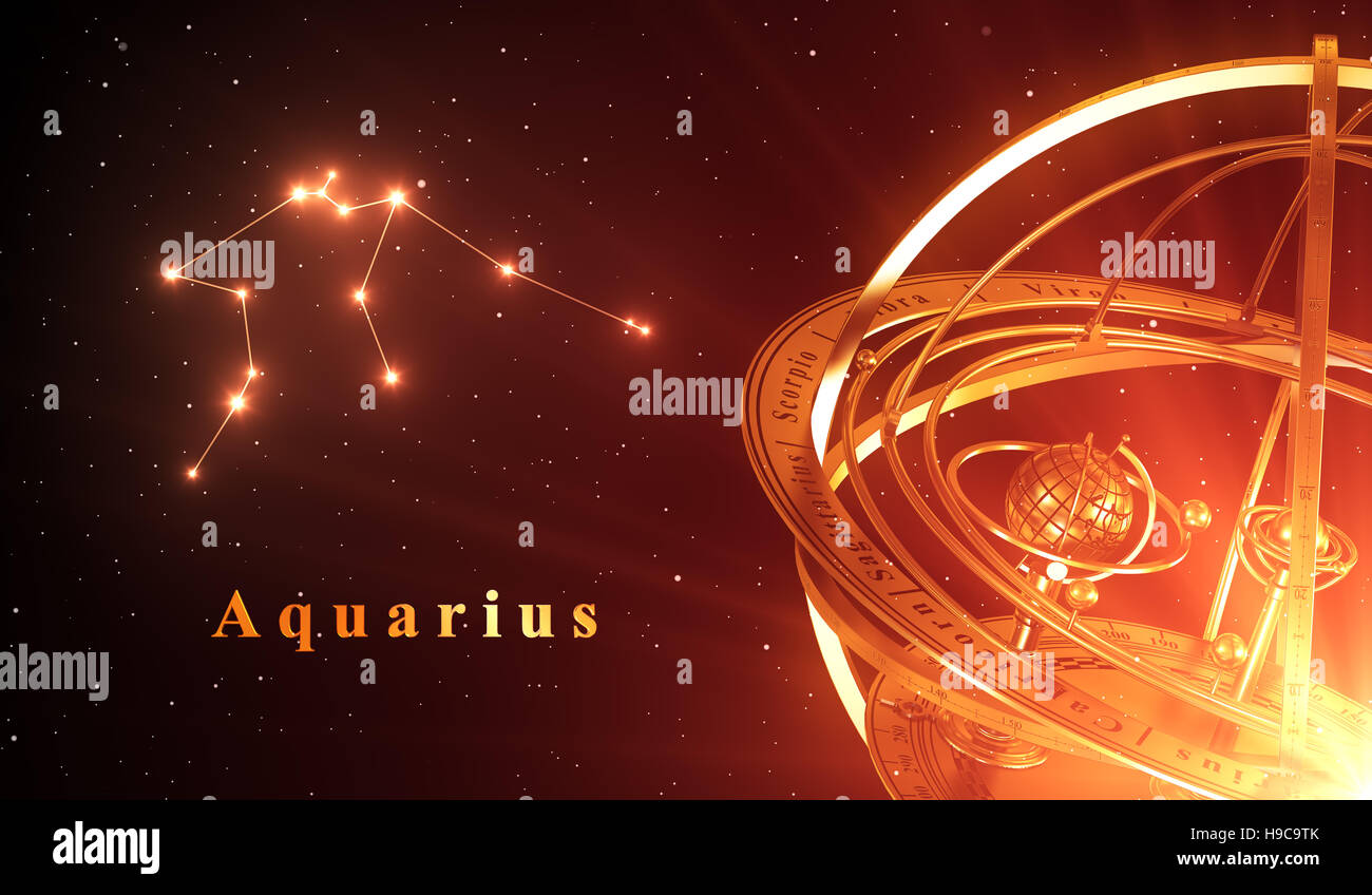 Zodiac Constellation Aquarius And Armillary Sphere Over Red Background. 3D Illustration. - Stock Image