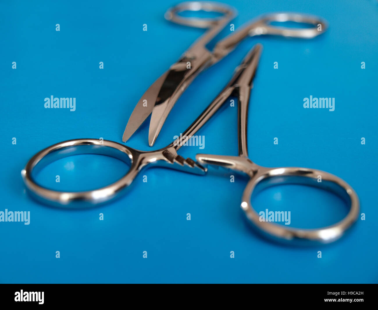 Surgical instruments: scissors and forceps - Stock Image