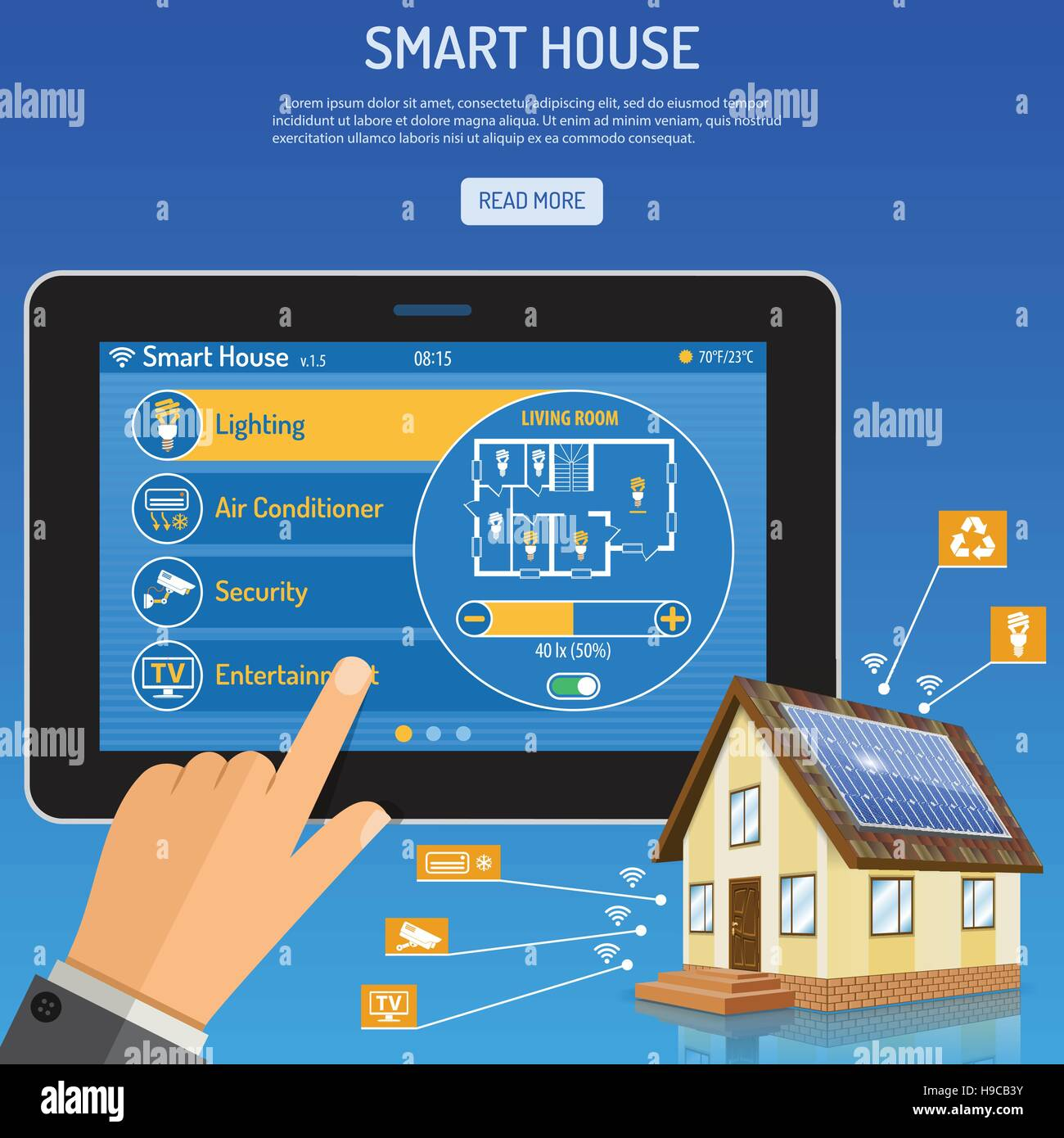 Smart House and internet things - Stock Image